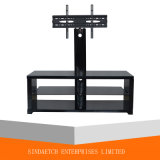 Elegant MDF Tempered Glass Moveable TV Rack / Floor Stand