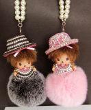 Hot Sale! ! Crystal Monchichi Keychain Fur Ball Keychain