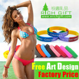 Wholesale Promotion Silkscreen Cheap Custom Rainbow Silicon Bracelet for Kids