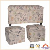 Wooden Set Tufted Button Stool Ottoman in Fabric Print