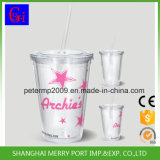 18 Oz Plastic Double Wall Mugs with Straw Lid