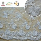Splendid 3D Flower White Lace Fabric for Wedding & Lady Dress C10015
