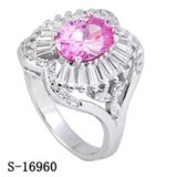 Sterling Silver Cocktail Ring Pink Cushion Cut CZ Rings