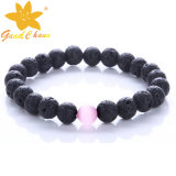 Lvb-16112810 10mm Black Color Lava Stone with Pink Cat Eyestone Dog Charm Bracelet