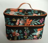 Microfiber Two Lays Cosmetic Bag for Women