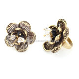 Ancient Bronze Gold Plated Crystal Ring Flower Shape Jewelry Rings Fashion Jewelry
