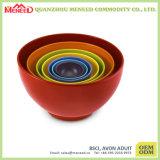 Colorful 6 PCS Plastic Melamine Mixing Bowl Set