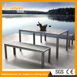New Style Simple Garden Outdoor Furniture Wiredrawing Aluminum Plastic Wood Chair Table Set