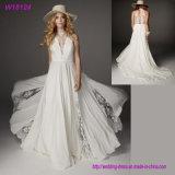 China Manufacturer Wholesale V-Neck White Lace Wedding Dress Bridal 2017
