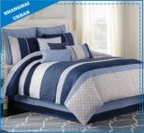 6 Piece Royal Navy Plaid Polyester Comforter Set