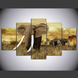 HD Printed Elephant Painting Group Painting Canvas Print Room Decor Print Poster Picture Canvas Ym-013