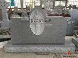 Light Grey Granite Stone Headstone with Virgin Mary Carving