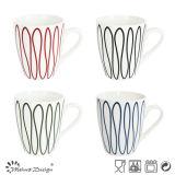 12oz Porcelain Mug with Blue Decal Creative Goemetrical Design