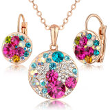 Ladies Mikey Design Gold Milticolor Stones Jewelry Set