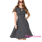 Black & White Dotted Cap Sleeve Swing Dress