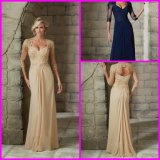 Lace Evening Dresses Champagne Navy Cap Sleeves Beaded Chiffon Mother Party Prom Evening 2016 Z401 (Z401)
