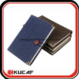 Button Closure Jean Note Book with Metal Corner