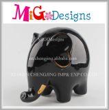 Customed Decoration Pretty Glazed Black Elephant Piggy Banks