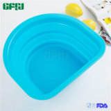 D Shaped BPA Free Collapsible Silicone Colander for Kitchen Outdoor Use