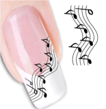 DIY Music Note Pattern Temporary Water Transfer Nail Sticker