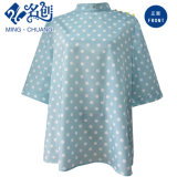 Green Stand Collar MID-Sleeve Rear-Button Fashion Ladies Shirt