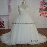 V-Neck Latest Lace Plus Size Bridal Dress