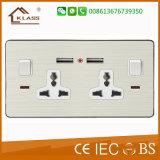 Metal Aluminum Mf 2*13A Socket with Dual USB Socket