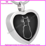 Ijd8091 Heart Stainless Steel Cremation Pendant Necklace Lonely Cat Engraved Pet Ashes Keepsake Holder