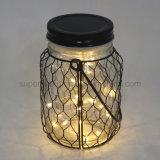 Classic Style Iron Net Wrapped Clear Glass Hanging Firefly LED Night Lantern