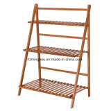 Pine Wood Foldable Storage Rack Shelf for Flower Pot Display