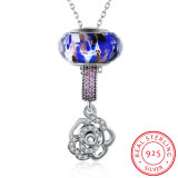 Rose Flower Real Silver Long Necklace 925 Sterling Silver Women Necklace
