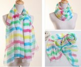 Lady Fashion Polyester Chiffon Silk Scarf with Stripes Printing (YKY1004)