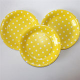 "9"" Party Paper Plate, Round Polka Yellow DOT Paper Plates"