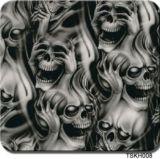 Tsautop Hot Selling 0.5m/1m Width Skull and Flame Water Transfer Printing Films Hydrographic Film Aqua Print Tskw008