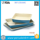 3PCS Wholesale Blue Ceramic Cake Pan Cookware Set