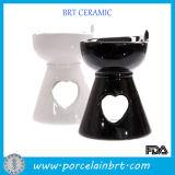 Black or White Ceramic Oil Burner with Heart Shape Hole