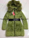 Stock Garments, Cheaper Price Down Jackets, Lady Long Style Down Jackets