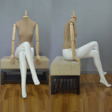 Fabric Wrapped Headless Sitting Female Mannequin with Wooden Arm