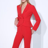 Latest Design Red or Black Colors Female Formal Pant Suit