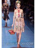High Quality Women Fashion Clothing Printed Celebrity Chiffon Silk Dress Wholesale