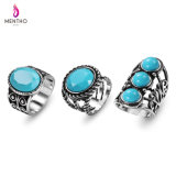 Retro Bohemian Ethnic Blue Resin Stone Studded Alloy Ring Set