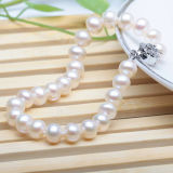 8-9mm Round White Freshwater Cultured Pearl Bracelet
