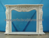 Stone Marble Fireplace Mantel for Indoor Decoration (QY-LF005)