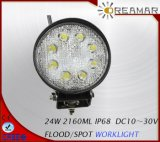 24W 2160lm Auto LED Car Work Light for SUV 4X4 Offroad Truck, with E-MARK Approved, IP67, Warranty 3years