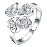 Women Four Leaves Clover Silver Ring Jewelry Hot Sale