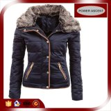 2015 Ladies Navy Padded Coat with Adjustable Fur Collar