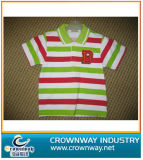 Boy′s Color Stripes Polo Shirt with Embroidery Patch