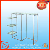 Metal Clothes Display Rack Witrh Glass Holder