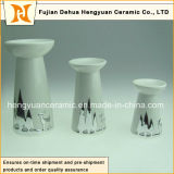 White Glazed Ceramic Candle Holders in Christmas Designs (New Product)