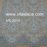 Silver & White Strands Polyester Guipure Lace Fabric with Embroidery Wholesale Vs-2013